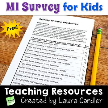printable iq test for elementary students multiple intelligences survey for kids free by laura