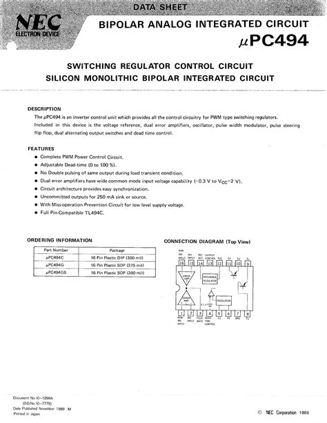 bipolar integrated circuit with photodetection function upc494 データシート pdf switching regulator circuit silicon monolithic bipolar integrated