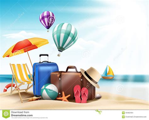 3d realistic summer travel and vacation poster design