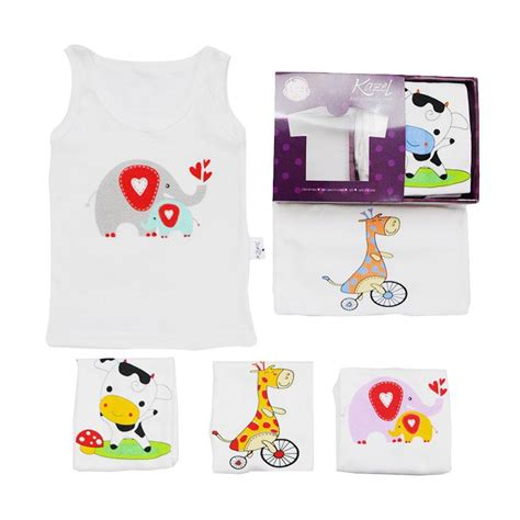 Kazel Singlet Animal 6in1 jual kazel singlet animal edition pakaian dalam anak 6in1