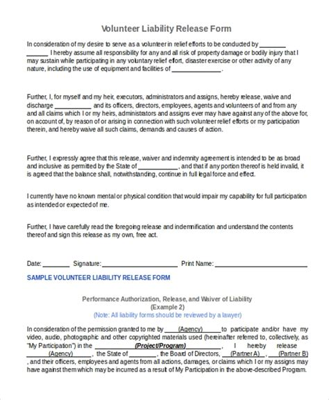 Sle Release Of Liability Form 9 Free Documents In Word Pdf Volunteer Waiver Template
