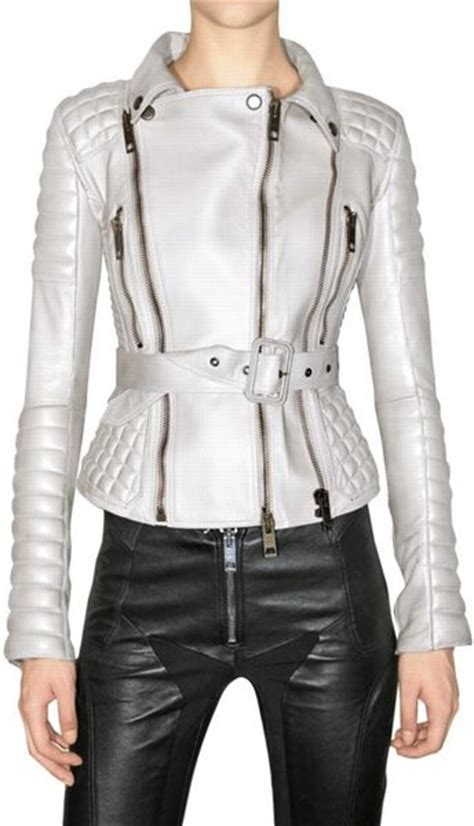 White Quilted Leather Jacket by Burberry Prorsum Quilted Biker Leather Jacket In White Ivory Lyst
