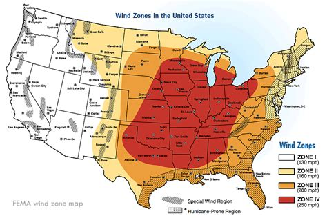 texas wind zone map fema severe wind zone and tornado alley map