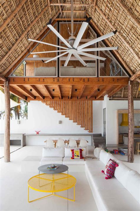 House Interior Roof Designs by Colorful Tropical Open Home With Cut Thatched Roof