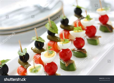 canape appetizer canapes on toothpicks appetizer pinchos stock