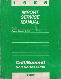 auto repair manual online 1989 dodge colt user handbook 1989 dodge colt colt 2000 series eagle summit import service manual engine chassis body