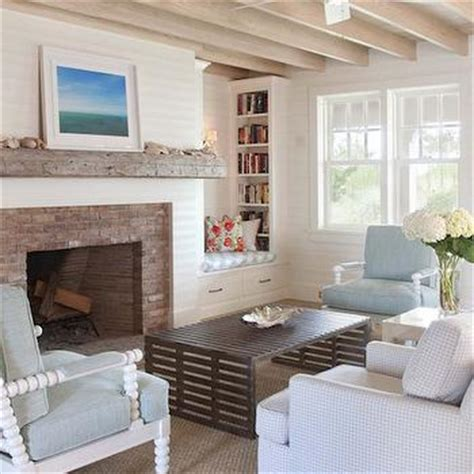 Built In Bookcases Next To Fireplace White And Blue Living Room Transitional Living Room