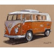 Art Print Car Painting VW Van Hippie Geekery 5x7 On 8x10  Orange Bus