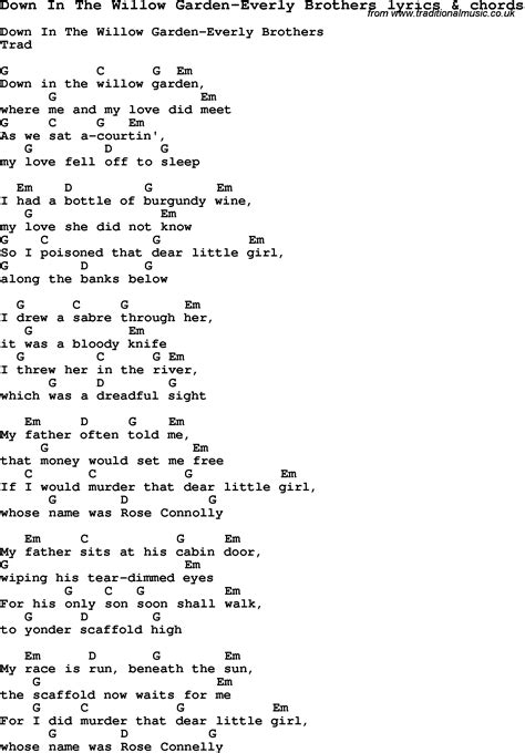 In The Garden Lyrics And Chords by Song Lyrics For In The Willow Garden Everly