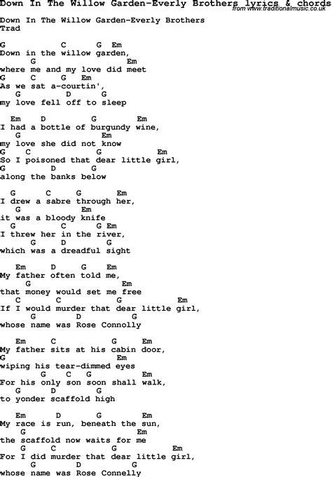 Garden Of Lyrics Song Lyrics For In The Willow Garden Everly