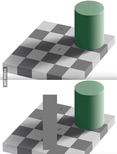 same color illusion optical illusion the squares a and b the same color