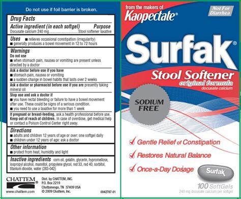 Otc Stool Softener Pregnancy by Surfak Stool Softener Capsule Gelatin Coated Chattem Inc