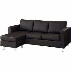 Leather Sectional Sofas For Small Spaces Modern Black Bonded Leather Small Sectional Sofa Small Space Configurable Ebay