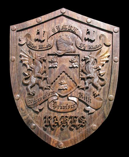 woodworking shield wapenschild on coat of arms family crest and