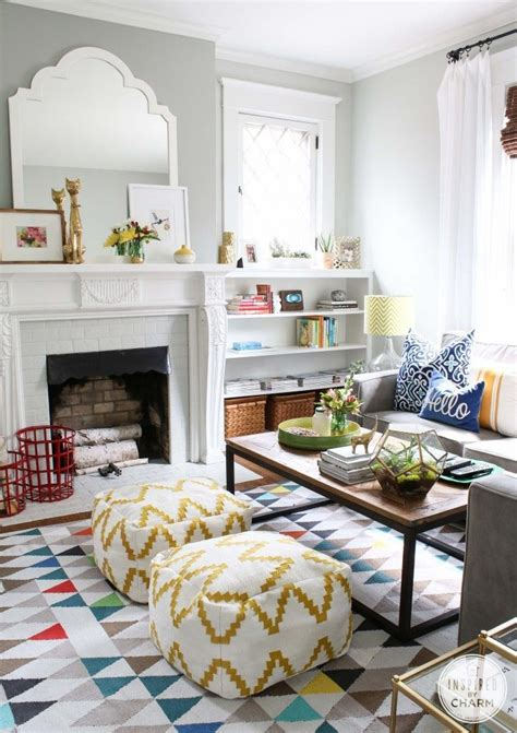 playful colors and patterns make this living room both