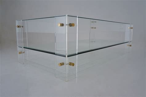 Acrylic Coffee Table With Shelf Lucite Coffee Table With Shelf Cardin Style 1970 S In Vintage Coffee Tables From