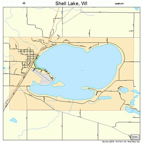 shell lake wisconsin street map 5573200