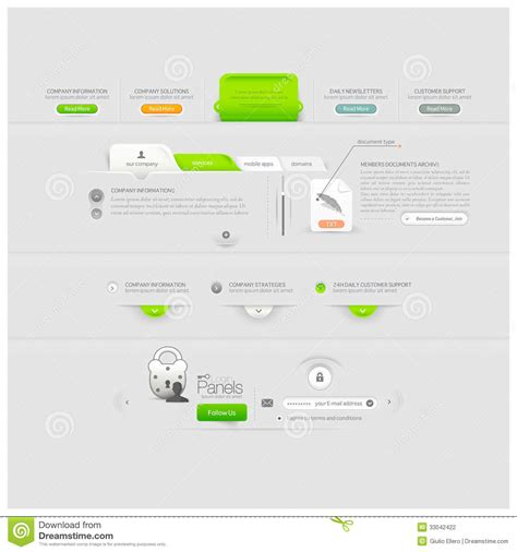 business web site template design menu elements with icons