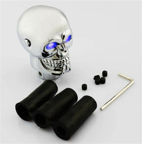 Skull Shift Knob With Light Up by Chrome Metal Alloy Skull Manual Or Automatic Gear Shift Knob