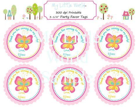 printable name tags for party bags butterfly favor tags butterfly party favor by
