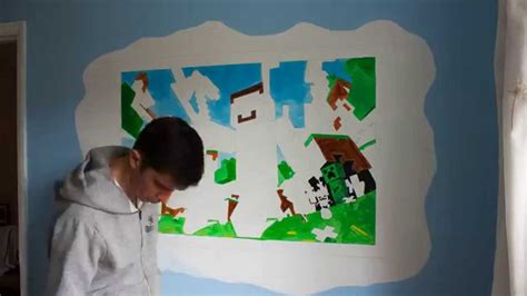 Minecraft Wall Mural minecraft wall mural time lapse youtube