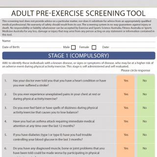 australian institute of fitness screening forms