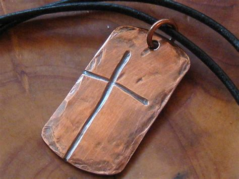 tag cross necklace ol rugged cross tag style s copper necklace