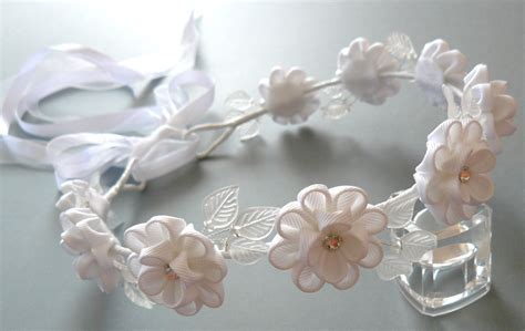 alicanti fiori white kanzashi fabric flower wreath white bridal hair