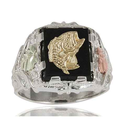 black sterling silver s fish ring with 12k gold