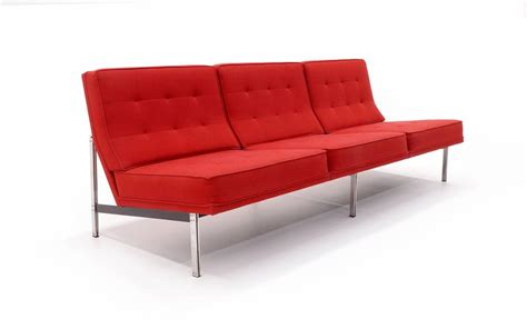 knoll sofas sale florence knoll parallel bar three seat armless sofa red