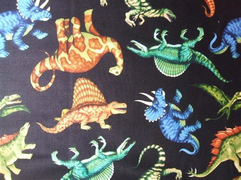 jurassic jungle black dinosaur brontosaurus trex quilting