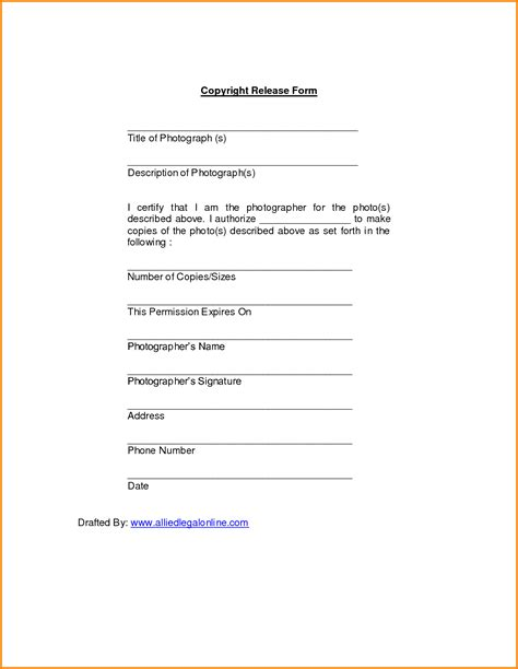 copyright release form for photographs video search