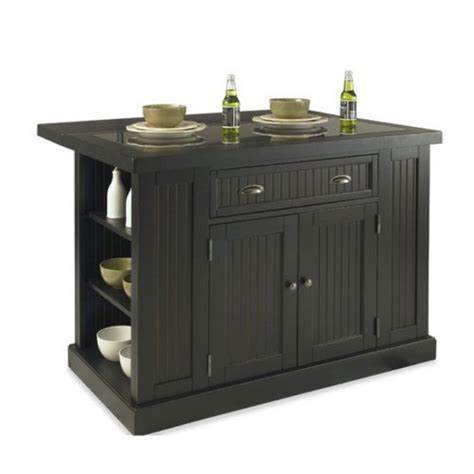 black kitchen island with stools home styles nantucket kitchen island two stools with