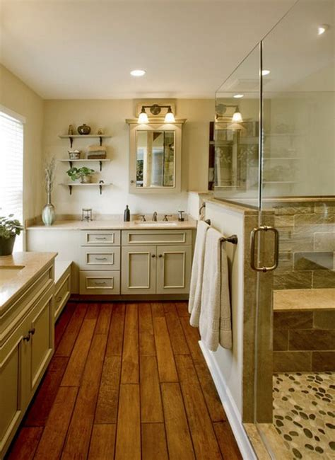 bathrooms with wood floors wood floor tiled shower bathroom house ideas pinterest