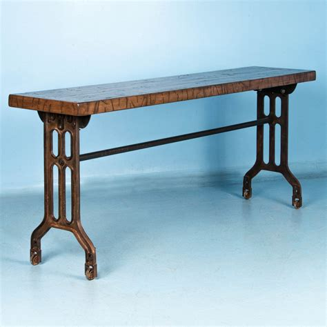 cast iron sofa table industrial console table with reclaimed maple top and