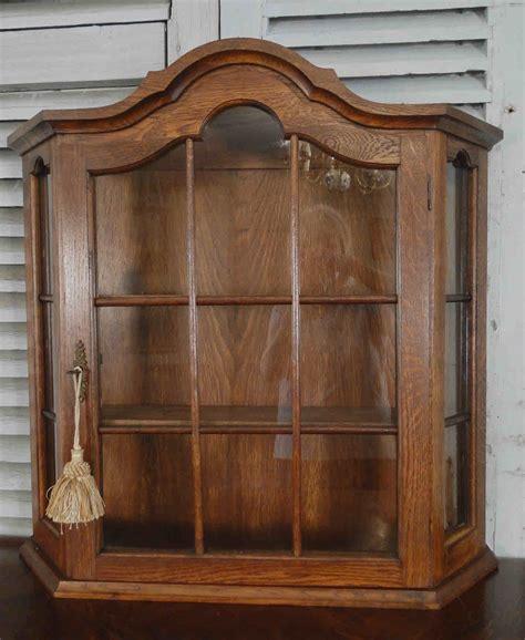 Cabinet Bonnet antique oak wall shelf vitrine curio glass display