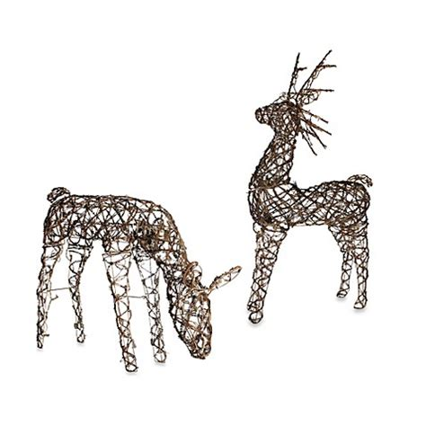 grapevine animated lighted deer 48 inch animated grapevine deers with clear mini lights bed bath beyond