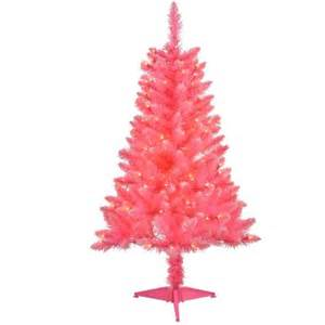 4 pre lit pink tinsel artificial christmas tree clear
