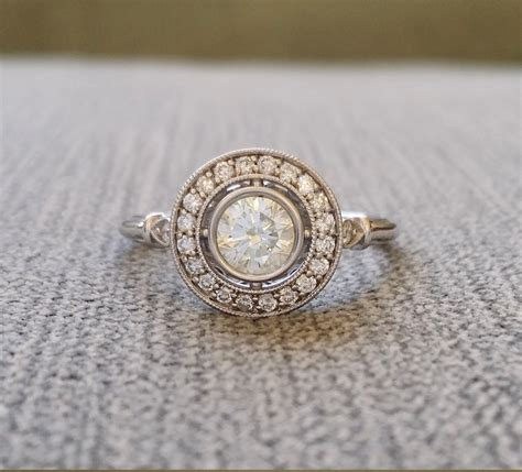 moissanite and halo antique engagement ring
