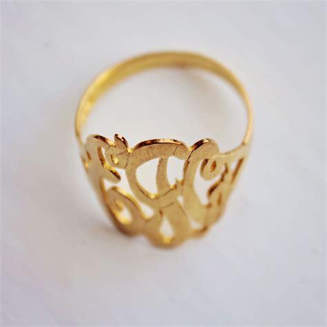 14k gold monogram ring script rosenberryrooms