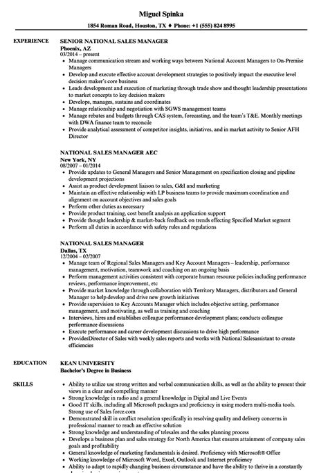 Sales Manager Resume by National Sales Manager Resume Sles Velvet