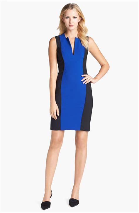 roy color block bodycon dress in blue empire blue