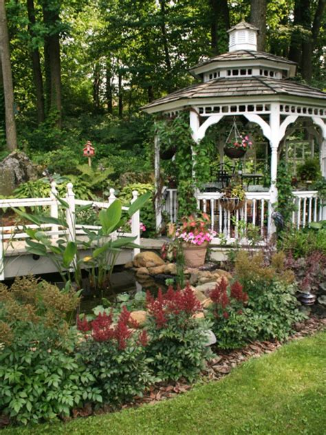 gazebo in garden the place for a pond landscaping ideas and