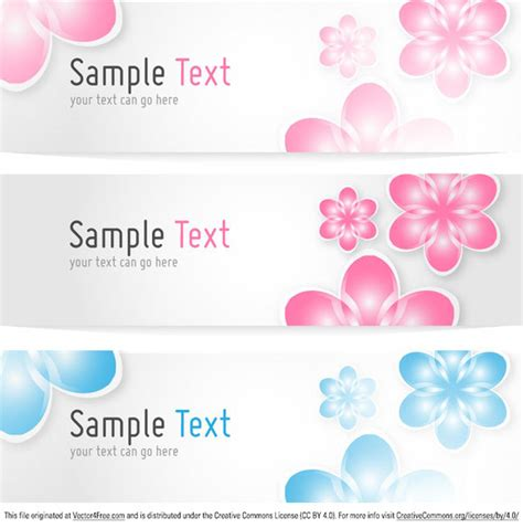 Free Floral Banners Vector Template Flower Banner Template