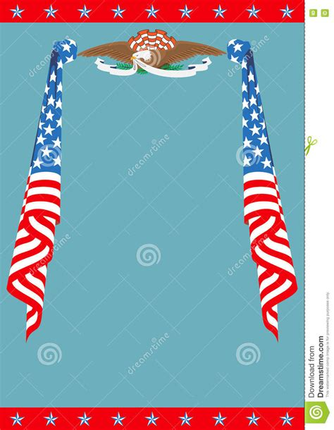 Us Flag And Eagle Patriotic Border Template Stock Vector Image 78074612 American Flag Invitation Template