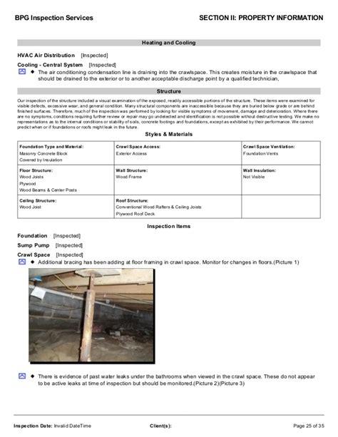 Cincinnati Home Inspector Sle Inspection Report Sewer Inspection Report Template