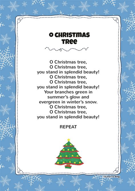 o christmas tree kids video song with free lyrics