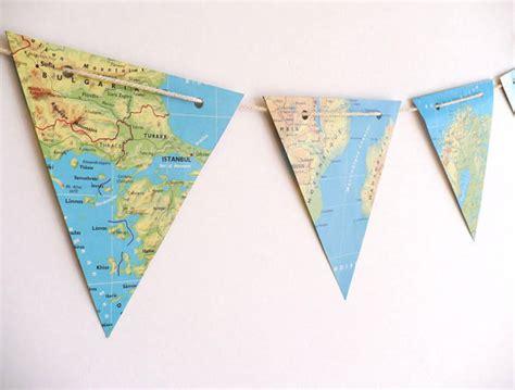 printable banner map vintage map bunting paper bunting handmade from vintage atlas