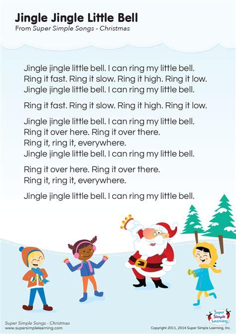 printable lyrics for jingle bells jingle jingle little bell lyrics poster super simple
