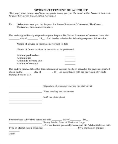 sworn statement exle sle sworn statement form 9 free documents in word